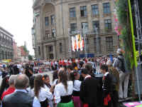 Crowds gathered for the International song and dance concert at Dome Square, Riga